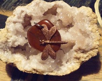 Lake Superior Jasper/Quartz mix with dragon fly pendant.
