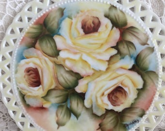 """8"""" Yellow Rose Plaque with cut outs  China Hand Painted Porcelain Flowers wall decor"""