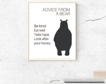 Bear Wall Art, Printable Graphic
