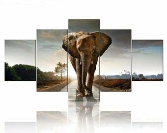 5D DIY Diamond Painting Elephant Multi-picture Combination Mosaic Cross Stitch Full Square Drill 3D Diamond Painting kit Sticker Home Decor