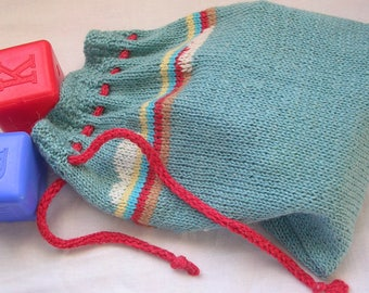 Bag for kids Rainbow bag Baby handbag Toy sack Gift for girls Gift for boy Hand knitted toy bag Gorgeous bag Bag with cloud Knit toy Red bag