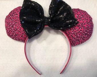Pink cheetah Disney ears