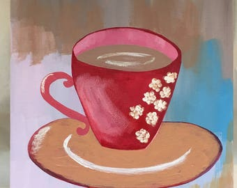 """Original Painting """"Cup of Coffee"""" Acrylic on Canvas"""