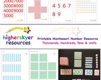 Montessori Number Maths Place Value Printable PDF Print Your Own KS1 KS2  Education Teaching Resource
