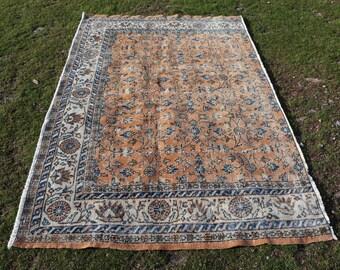Orange color rug, 4.7 x 7.4 ft. Free Shipping flowered rug, bohemian rug, home floor rug, kitchen rug, nomadic rug, low pile rug, MB566