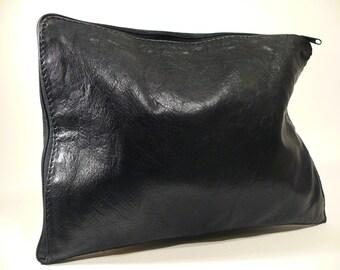 True vintage-oldschool-clutches-handbag-designer bag-90s-1980s-West Germany-Genuine leather-buffalo leather-Black
