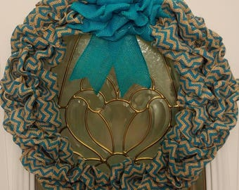 Teal Chevron Wreath