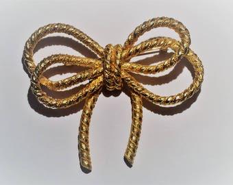 Vintage Cadoro Rope Bow Brooch, Gold Tone