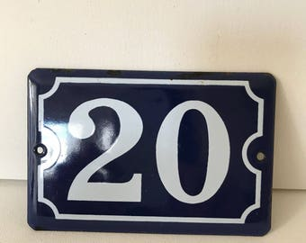 Vintage French blue and white enamel house number 20, sign, French enamelware