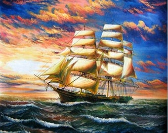 5D DIY Diamond Painting Sailing at sea full Square Diamond embroidery Kits Pictures of crystals home deocr