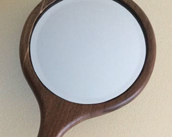 Wooden Hand Mirror, Hand Crafted