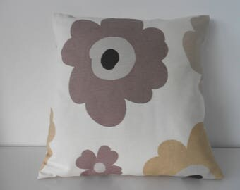 "Cream cushion cover with large beige and mink brown flowers.  16 x 16"", same fabric front and back, envelope opening and button fasteneing"
