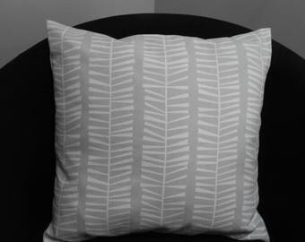 "Scandinavian style cushion cover, in pale grey with white pattern.  16 x 16"", same fabric front and back, button fastening"