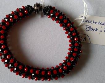 Crocheted Black and Red Beaded Bracelet