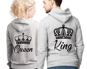 His and Her King and Queen Heather Grey Hoodies set with text and crown on the back.