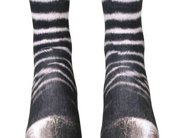 Zebra Print Socks Zebra Socks Hoof Socks Custom Socks