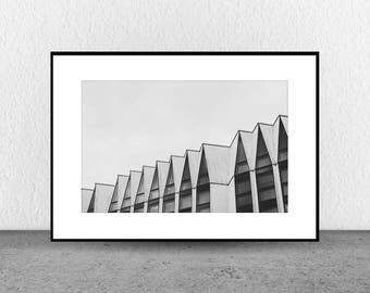 Pointed Rooftops, Architecture Photography, Black and White Photography, Fine Art, Wall Art, Wall Art Photography, Geometric, Interior Decor
