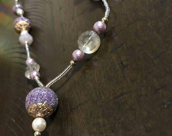 Black silver and pearl beaded lanyard