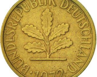 germany - federal republic 5 pfennig 1972 karlsruhe au(50-53) brass clad