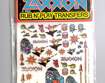 1982 ZAXXON Sega Video Game Rub N Play Transfer Set, by Colorforms