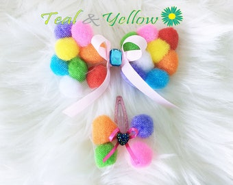 PomPomBow, Twin, Doll Hair Pin, Tulle, Hair Pin, Girl's Hair Accessories,