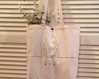 Shopper Cotton/Bunny tote bag/Dog tote bag/Cat tote bag/hand Painted