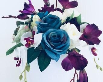 Artificial flower arrangement in a box, wedding bouquet, home decor,gift box
