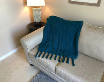 Teal Popcorn Twist Pattern Afghan