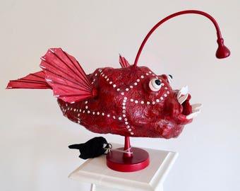 Fish-fisherman of the deep, raw art lamp