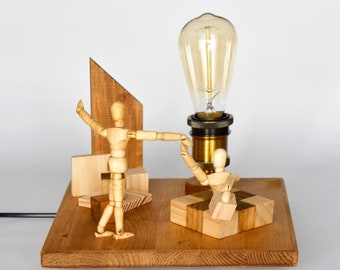 Creative wooden lamp with warm light