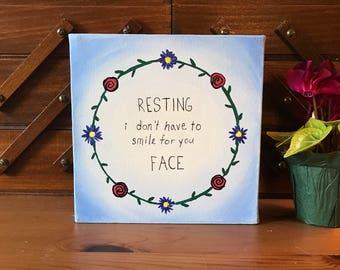 Resting Feminist Face ~ Painting (Acrylic) ~ Canvas ~ Feminist Art