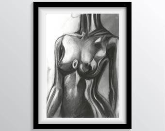 Chrome Femininity - Charcoal Drawing Art Print