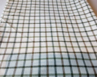 "Woven 100% Cotton Cream, green and brown Tartan Fabric Sample 50"" x 44"""