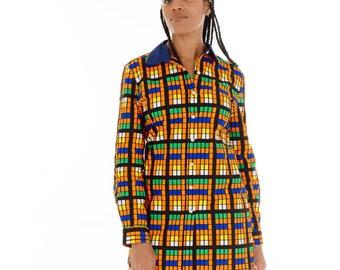 Tishe Blue Collar Buttoned Shirt Dress