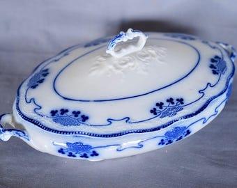 "Antique Flow Blue Oval 12"" Covered Vegetable Bowl W.H. Grindley England ca.1900"