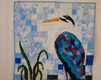 Heron Wall Quilt - Art Quilt