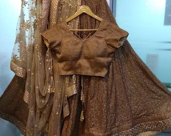 Lehenga Made to order Indian Pakistani designer Golden Heavy Lengha Choli dupatta for women exclusive wedding party wear