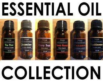 Essential Oils Set of 6 Teatree,Jasmine,Clary Sage,Sweet Orange,Cinnamon,Frankincense Great Gift