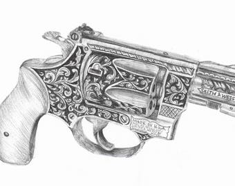 Smith and Wesson Decorative Gun Print