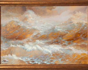 Shimmering sea on a gold background, the painting oil on canvas