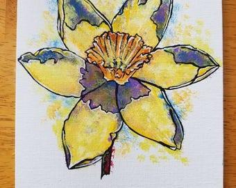 March flower / March birth Flower / Daffodil / floral painting / Daffodil painting / pop art painting / pop art floral / yellow Daffodil