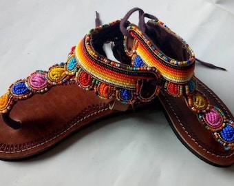 African sandal, beaded sandal, masai sandal, leather sandal