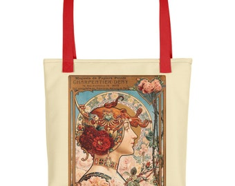 Red Flower and Spring Girl Vintage Art Deco Tote bag
