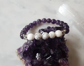 The Prince of Peace Bracelet -- Amethyst and Howlite  - Jesus, Christian, Spirituality