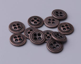 10pcs 11mm 4 hole button zinc alloy copper button coat shirt sweater button vintage style