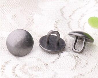 metal buttons mushroom buttons 10pcs 14*11mm zinc alloy buttons long shank buttons light black buttons