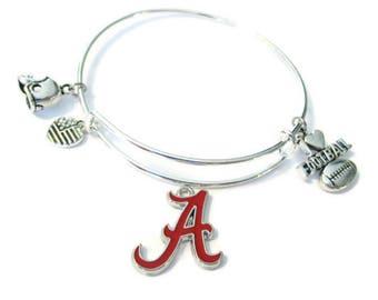 Alabama Crimson Tide 4-Charm Silver Bangle Bracelet