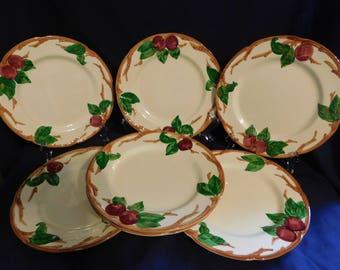 VINTAGE Franciscan California USA Apple Dinner Plates 7 + holder 1953-58 Mark