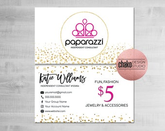 Paparazzi Business Cards, Paparazzi Consultant Cards, Paparazzi Accessories, Paparazzi Cards, Business Card, White, Gold, Confetti - PZ09