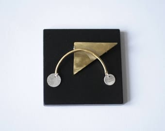 Kimama brooch, silver and brass, one of a kind